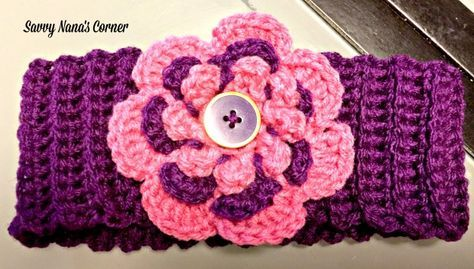 Adult Earwarmers With Flower Button Accent Free Pattern
