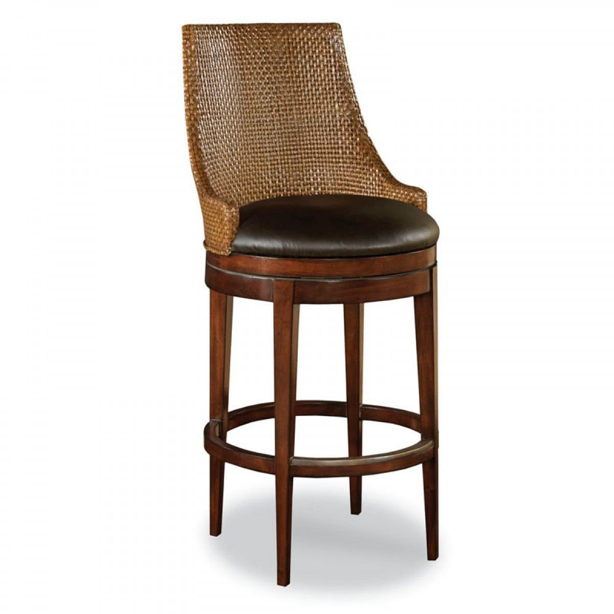 woodbridge woven leather swivel counter stool - Leather Counter Stools