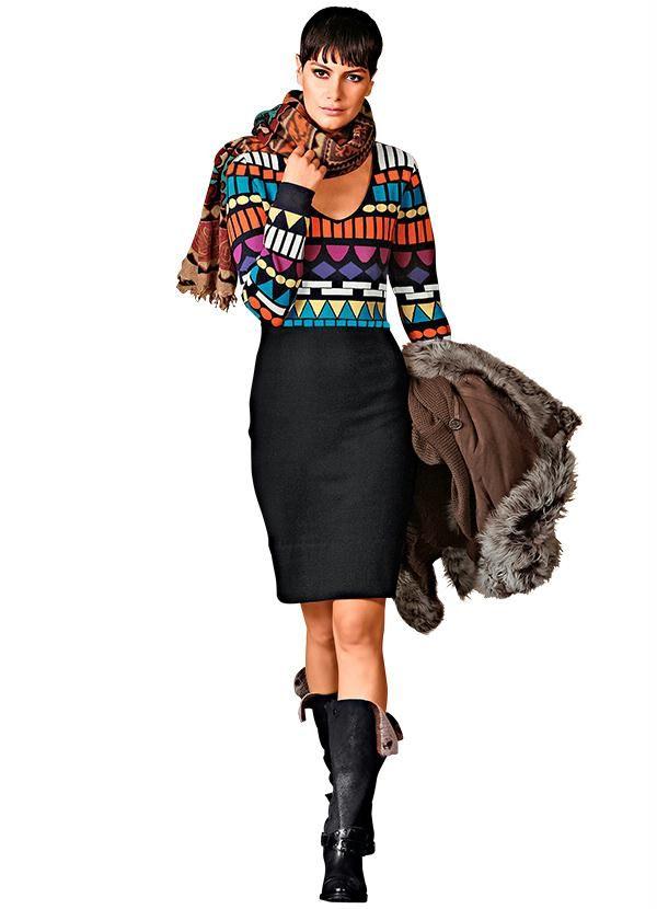 Vestido de Tricô Estampa Étnica Preto - Posthaus