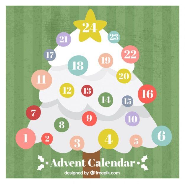 Calendario Vector Blanco.Calendario De Adviento Con El Arbol De Navidad Blanco Vector