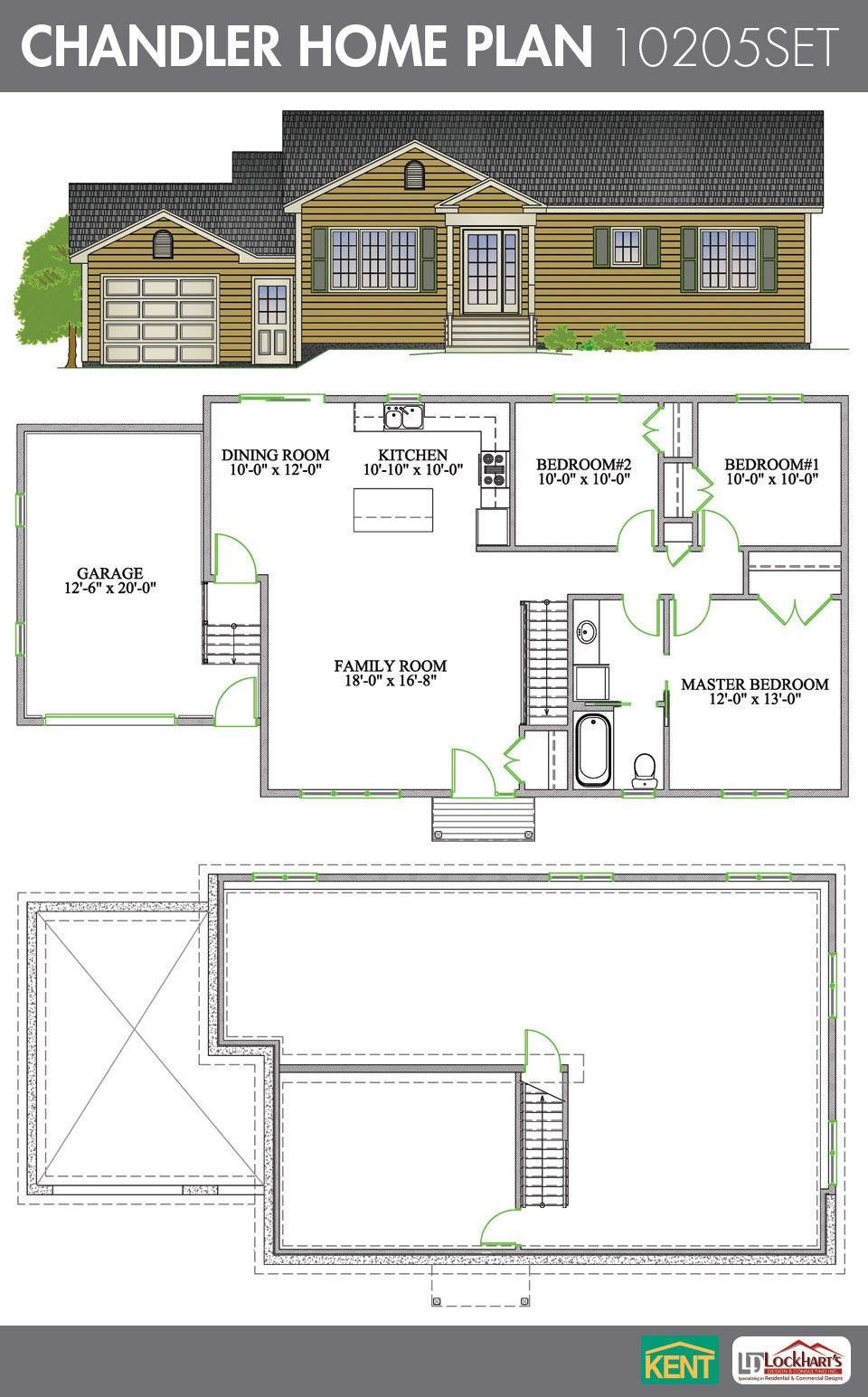 Chandler 3 Bedroom 1 Bathroom Home Plan Features Open Concept Living Room Dining Kitchen Master With Walk In Closet En Suite And Garage