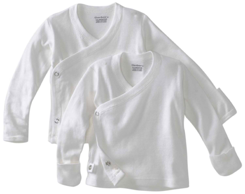 Gerber Unisex Baby Newborn 2 Pack Long Sleeve Side Snap