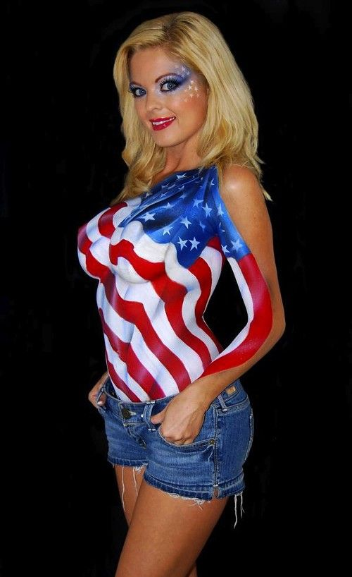 Sexy Body Paint Sexy Nude Babes Body Paint Flag America On Hot Body Painting Woman