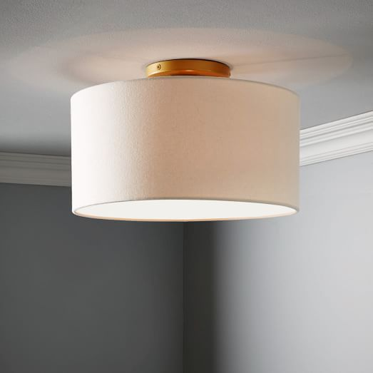 Fabric Shade Flush Mount Drum Natural Linen