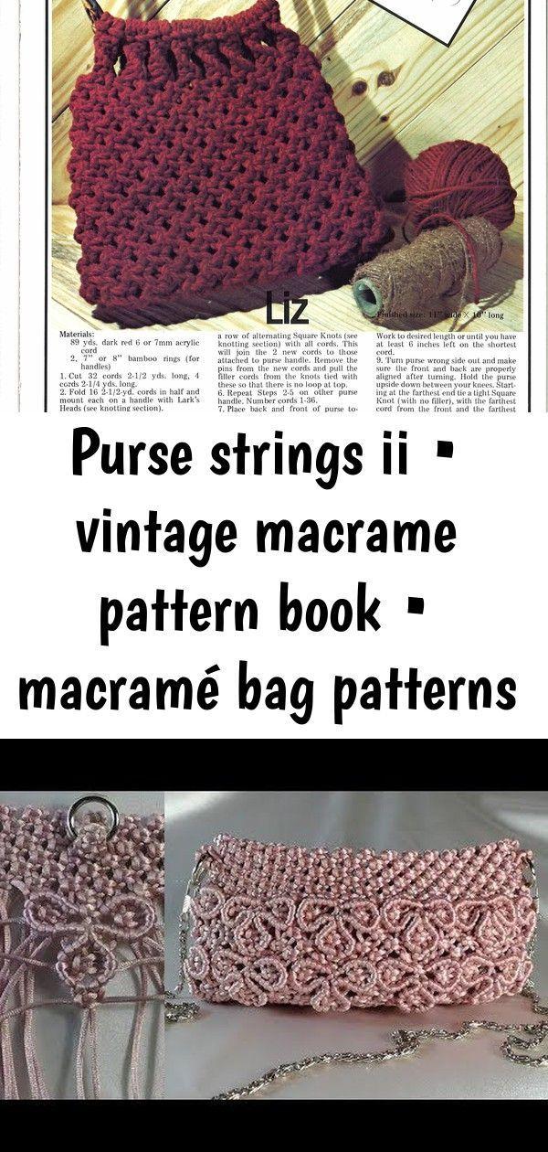 Purse Strings II • Vintage Macrame Pattern Book • Macramé Bag Patterns • Boho Burning Man Bo