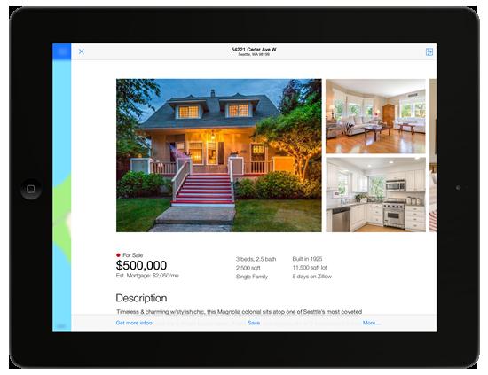 Real Estate iPad App Zillow Ios 7, Real estate, App