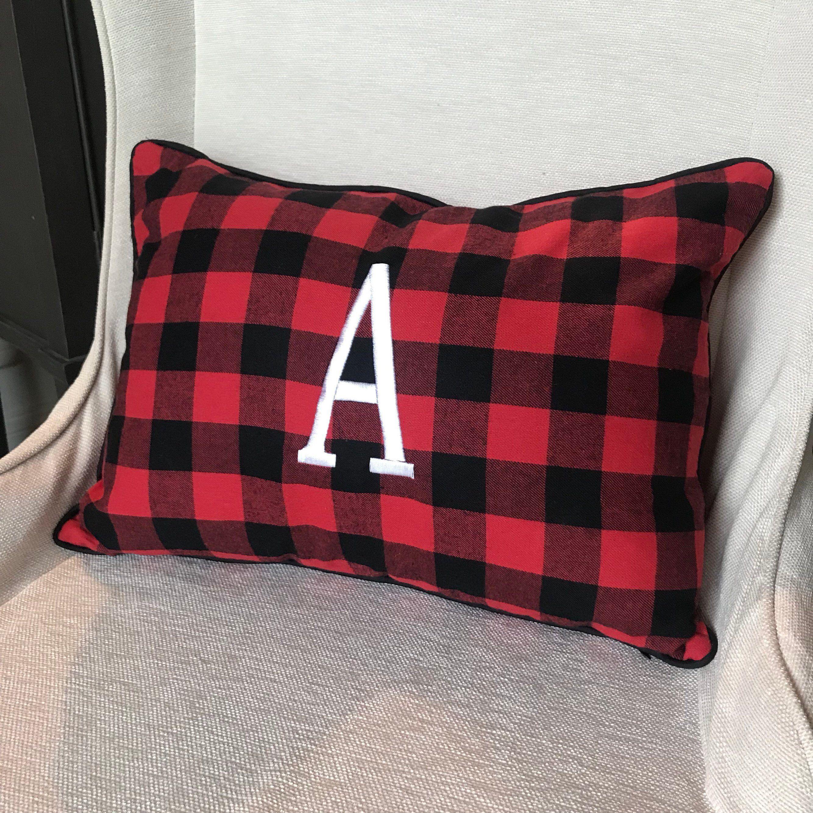 Monogrammed Buffalo Plaid Pillow Buffalo Plaid Red Lumbar Etsy Buffalo Plaid Pillows Plaid Pillows Christmas Plaid Pillow #red #buffalo #plaid #living #room