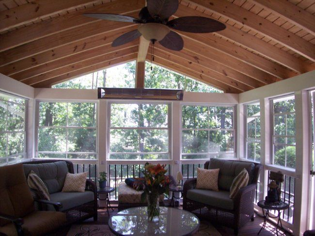 Rustic four season rooms season room interior parkville for Log cabin sunroom additions