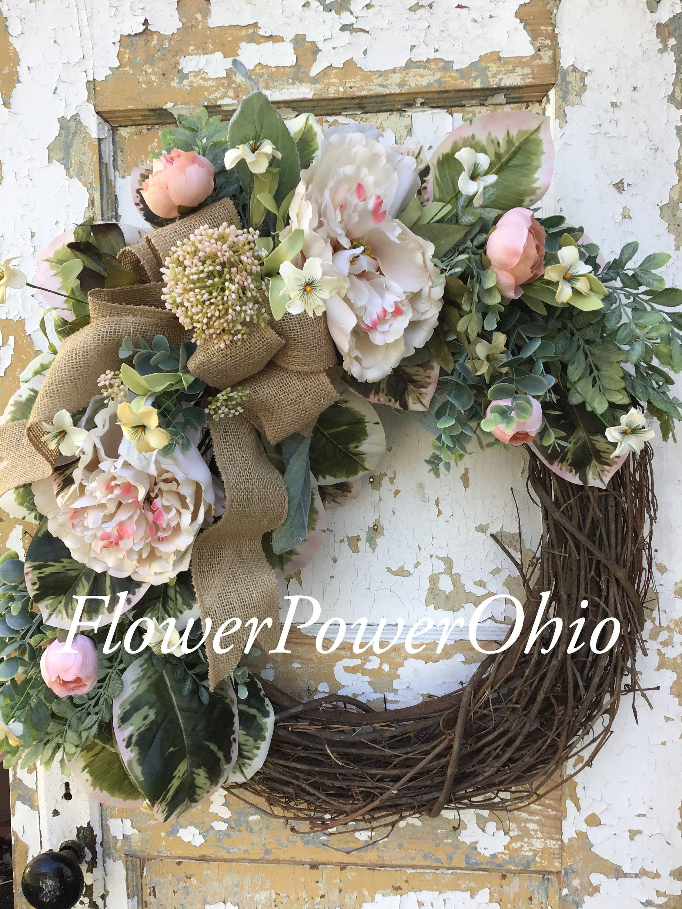 Photo of Spring wreath for front door, peony wreath, Easter wreath