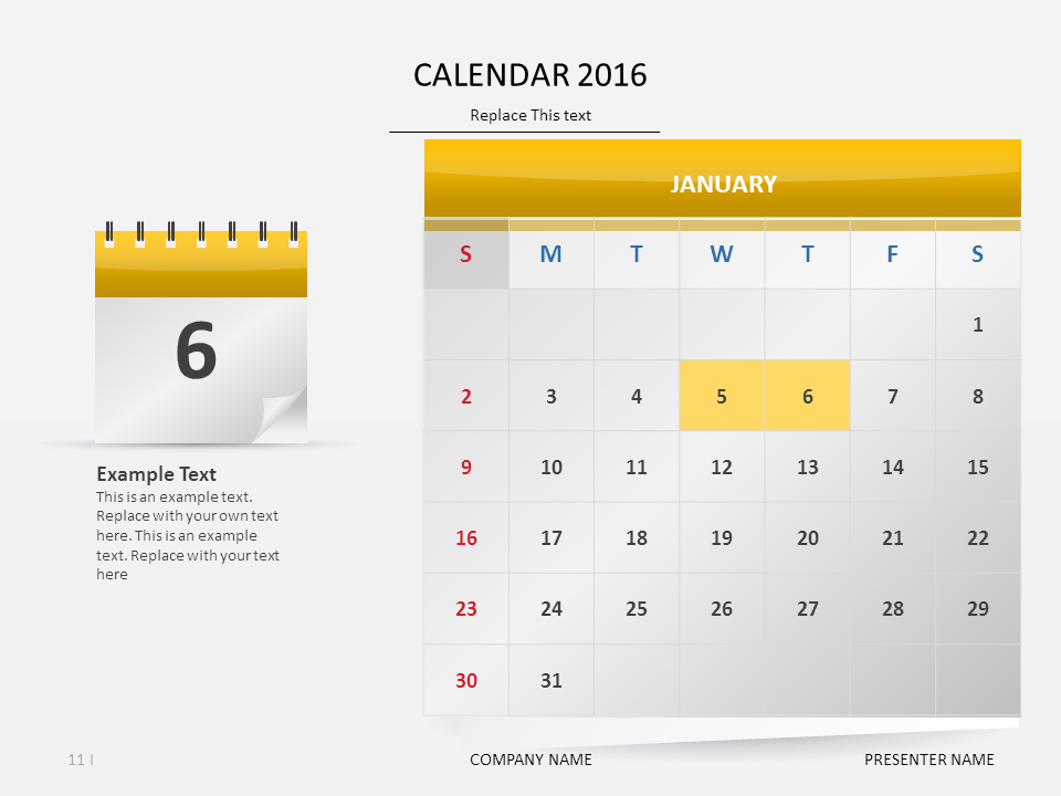 Calendar Powerpoint Template Presentationdesign Timeline