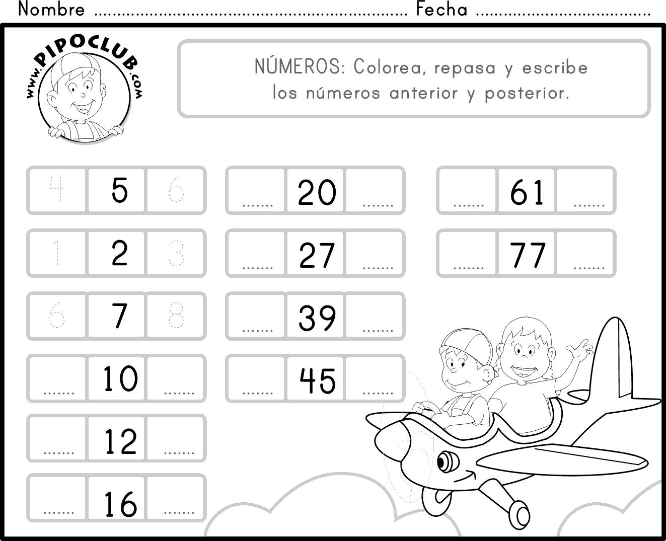 Imprime Repasa Y Colorea El Numero Anterior Y El