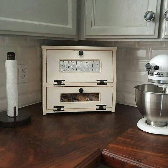 16 Perfect Kitchen Designs For Classy Homes: Wood Bread Box Potato Vegetable Bin Wooden Punched Tin