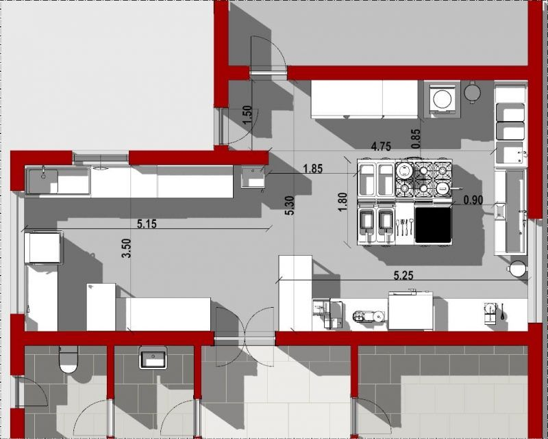 Progetto di una cucina per ristorante con norme e dwg