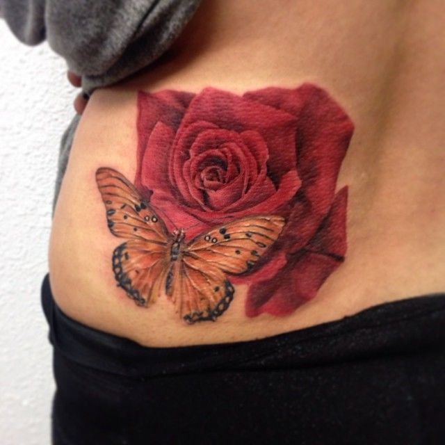 Red Rose Butterfly Tattoo On Girl Waist Rose And Butterfly Tattoo Butterfly Tattoo Butterfly Tattoo On Shoulder