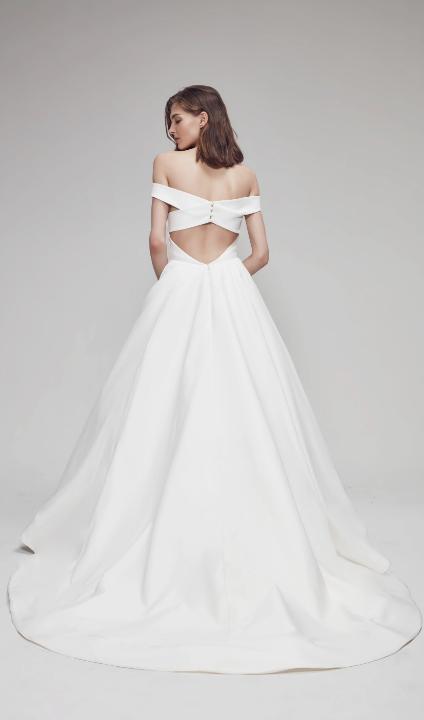 Off The Shoulder Sweetheart Ballgown Wedding Dress With Criss Cross Back Kleinfeld Bridal Ball Gown Wedding Dress Ball Gowns Crepe Wedding Dress