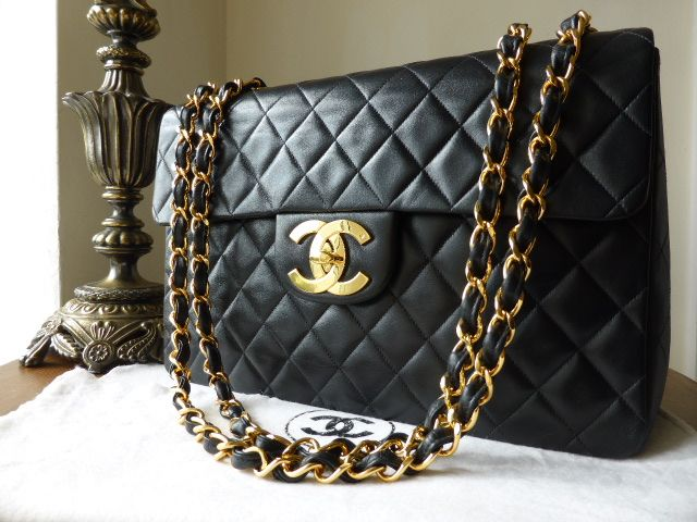 fbc061b72755 Chanel Maxi XL Jumbo Flap Bag in Black Lambskin with Gold Hardware >  http: