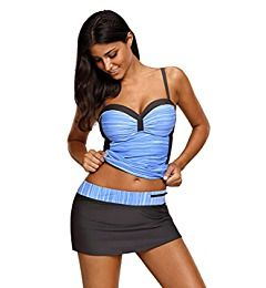 31819dc05954a Womens Swimsuit Halter Tankini Top and Skort Bottom Set bathing suits,  Small, Blue#