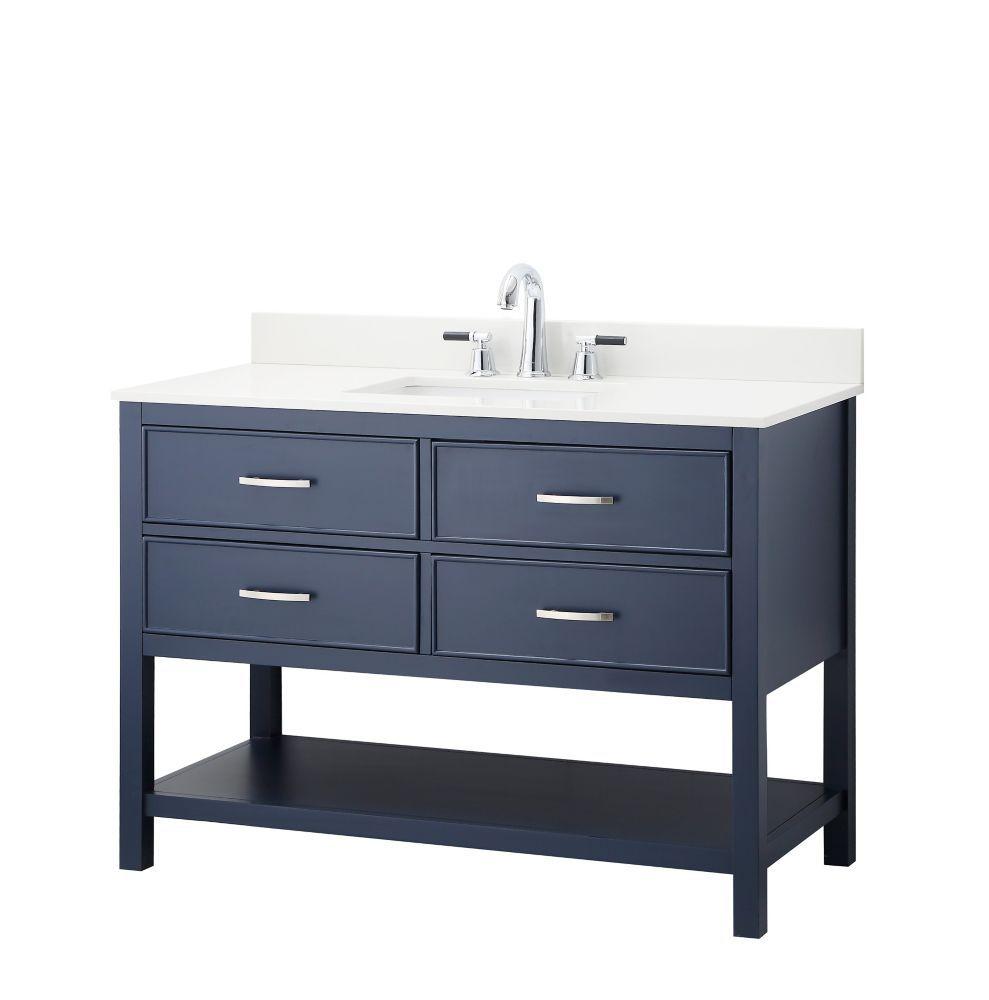 Groovy Brookbank 48 Inch 2 Drawer Vanity In Navy Blue With White Download Free Architecture Designs Scobabritishbridgeorg