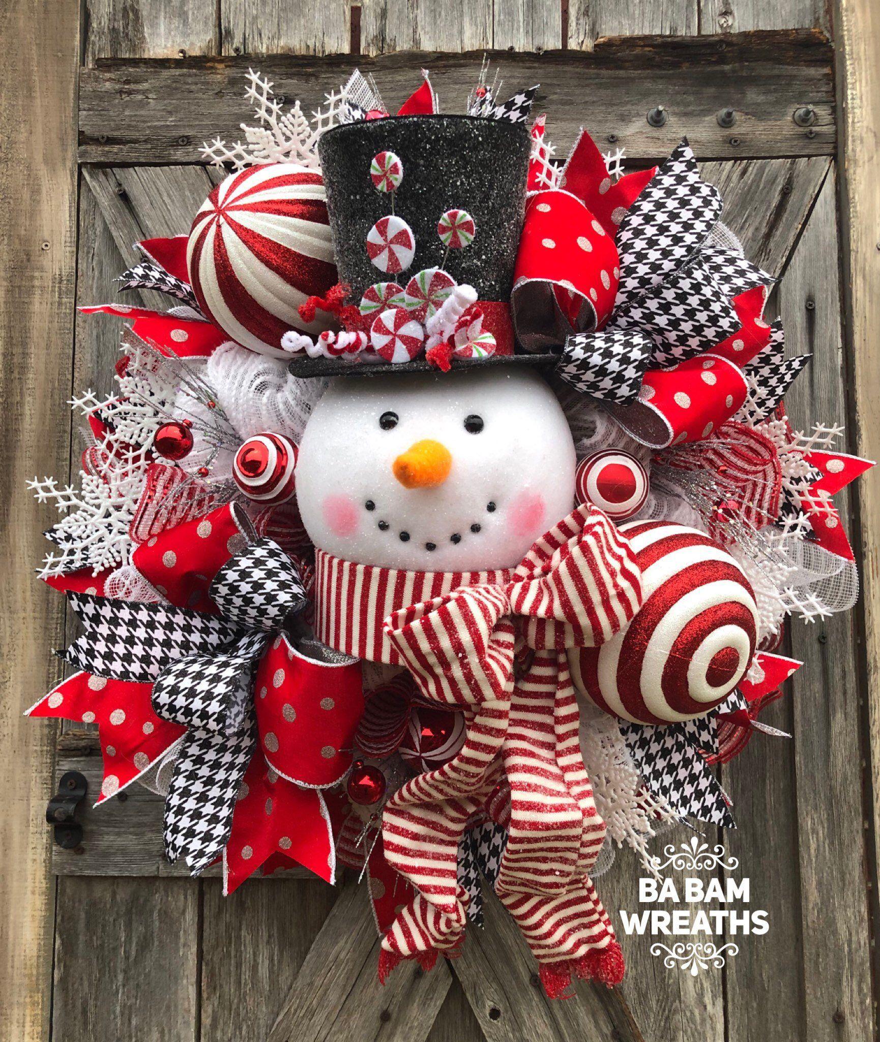 Ba Bam Wreaths Snowman Wreath Traditional Christmas Red White Christmas Decor Classic C Christmas Wreaths Christmas Decorations Wreaths Red Christmas Decor