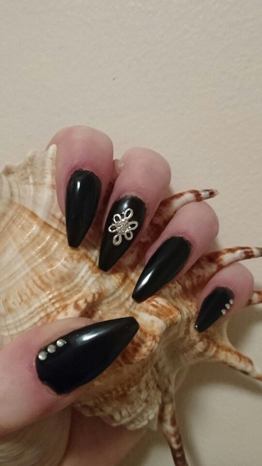 Sculptured Coffins in Black with diamonds #nails #acrylic #coffin ...