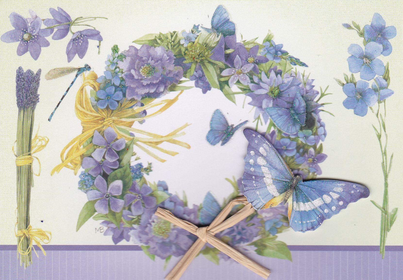 Mooie kaart blauwe vlinder