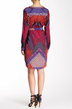 Hale Bob Long Sleeve Silk Blend Dress