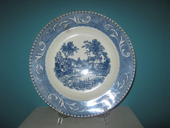 Royal Blue Transferware  Shakespeare Country  Scenes Permanently Engraved by Ceramic Printing Laughlin International Dinner Plate by on Etsy & Royal Blue Transferware