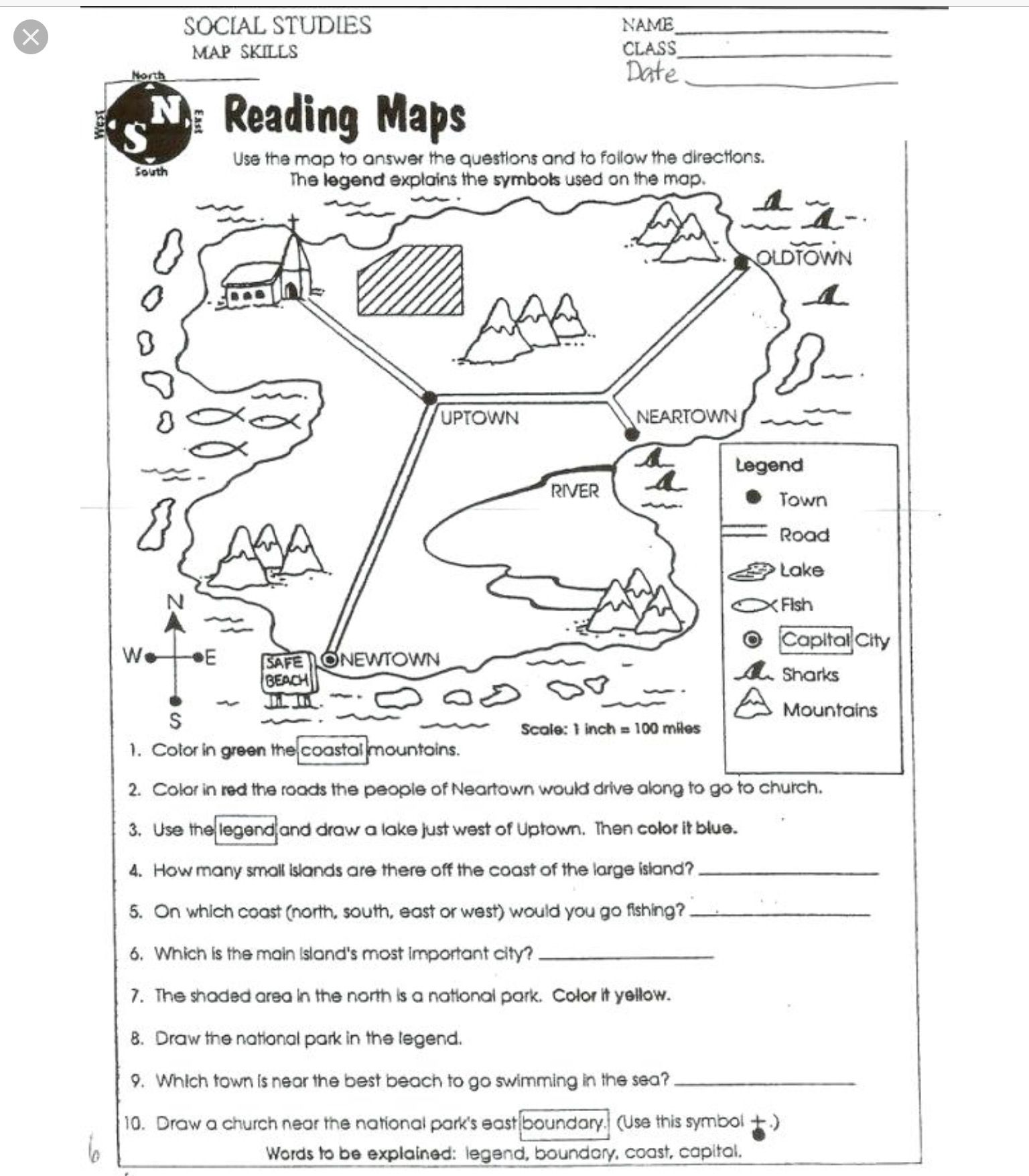 Map Worksheets Image By Kat Lightsey On Homework