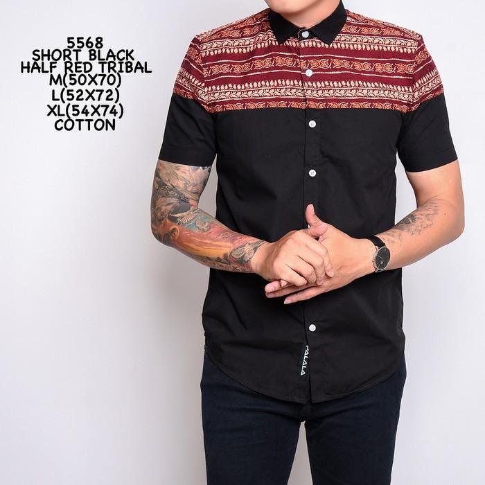 Kumpulan Model Baju Batik Pria Modern Polos Kombinasi Tribal 2018
