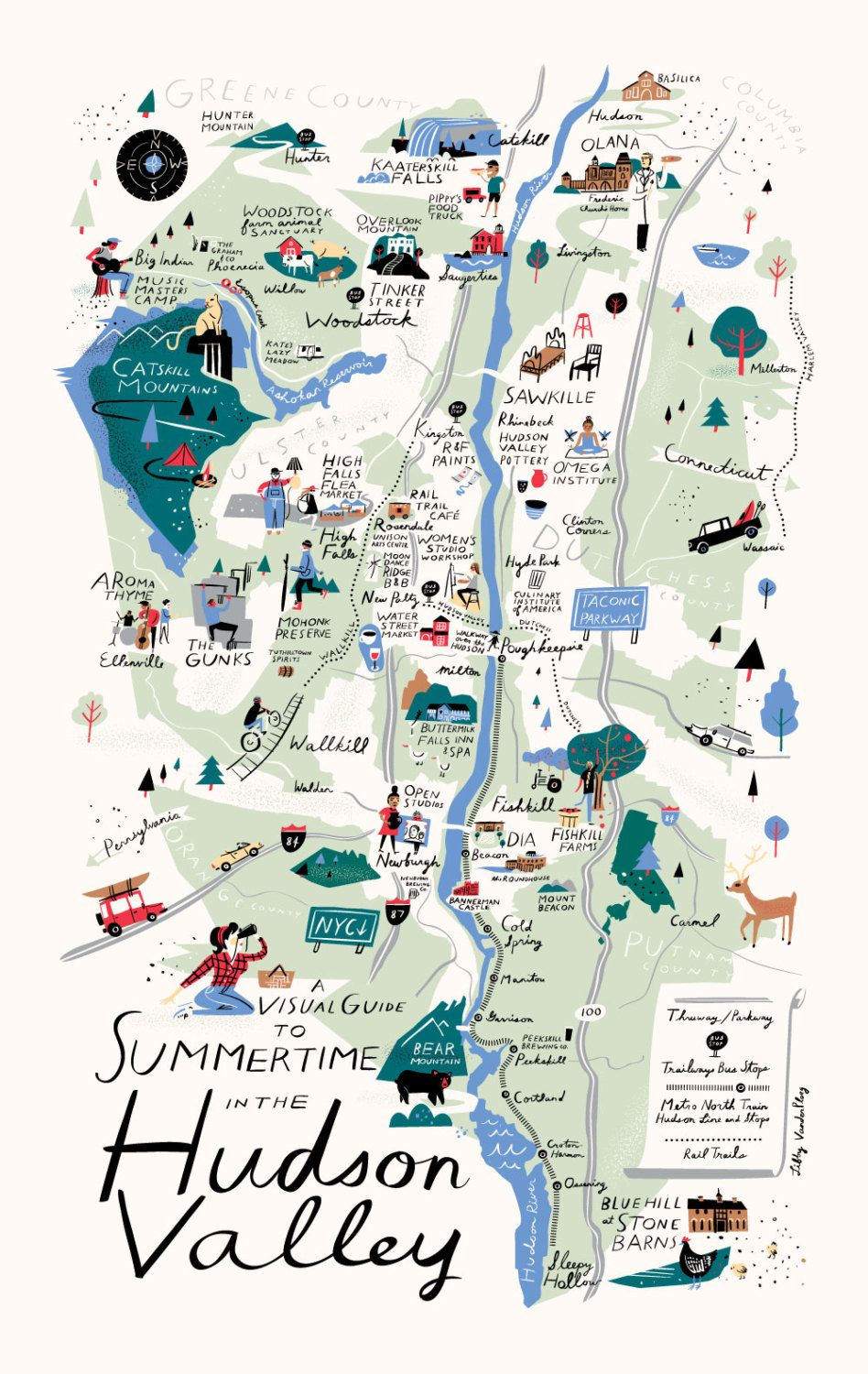 Map Of New York Hudson Valley.The Daily Hunt Artwork Map Map Design City Maps