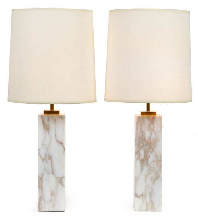 Pair Of Square Column Marble Table Lamps By Robsjohn Gibbings Image 2
