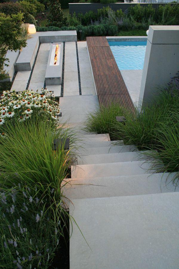 Feuerstelle Garten Modern Beton Treppe Terrasse Feuerstellen