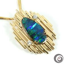 Photo of Purple Blue Green Solid Opal + Diamonds & 18K Solid Gold Pendant Necklace #P4946