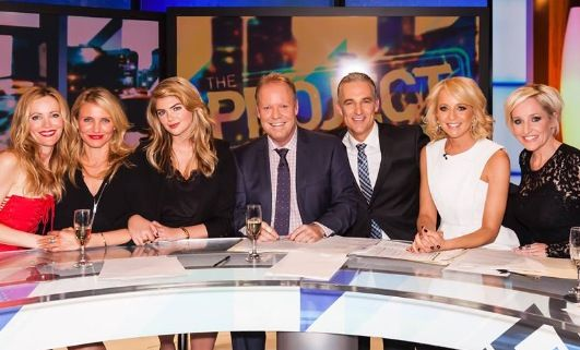 Leslie Mann, Cameron Diaz, Kate Upton, Peter Helliar, Andrew Rochford, Carrie Bickmore and Fifi Box #theprojecttv