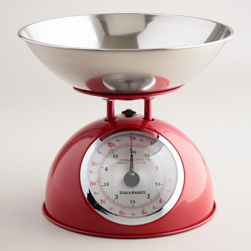 Red Vintage Style Metal Kitchen Scale