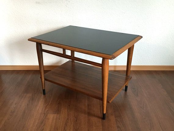 Vintage Mid Century Modern Side Table With Tapered Legs Black Top 60s End Retro Furniture Rerunroom