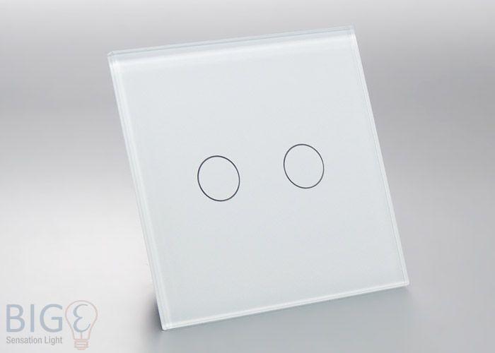 Glas Touch Schalter 2 Fach Weiss 80x80mm Lichtschalter Schalter Licht