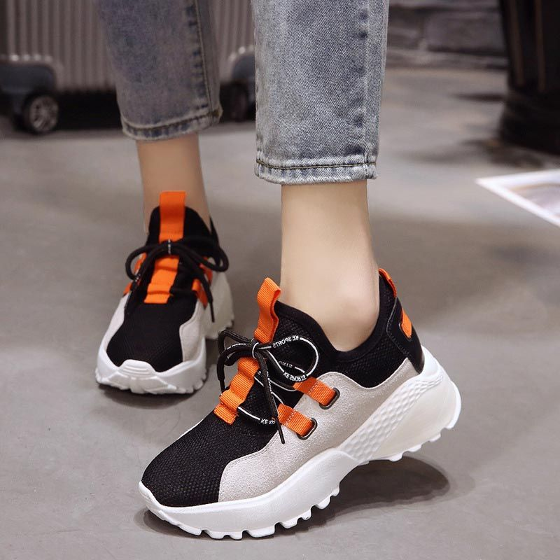 Chic Round Toe Lace-Up Platform Womens Sneaker
