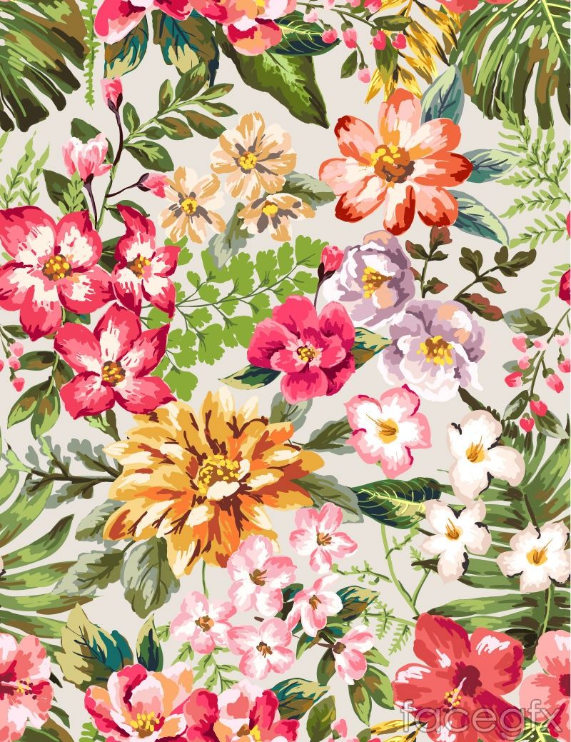vintage watercolor flowers vector for Free Download
