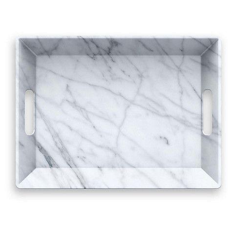 Carrara Handled Melamine Serving Tray White White Serving Tray