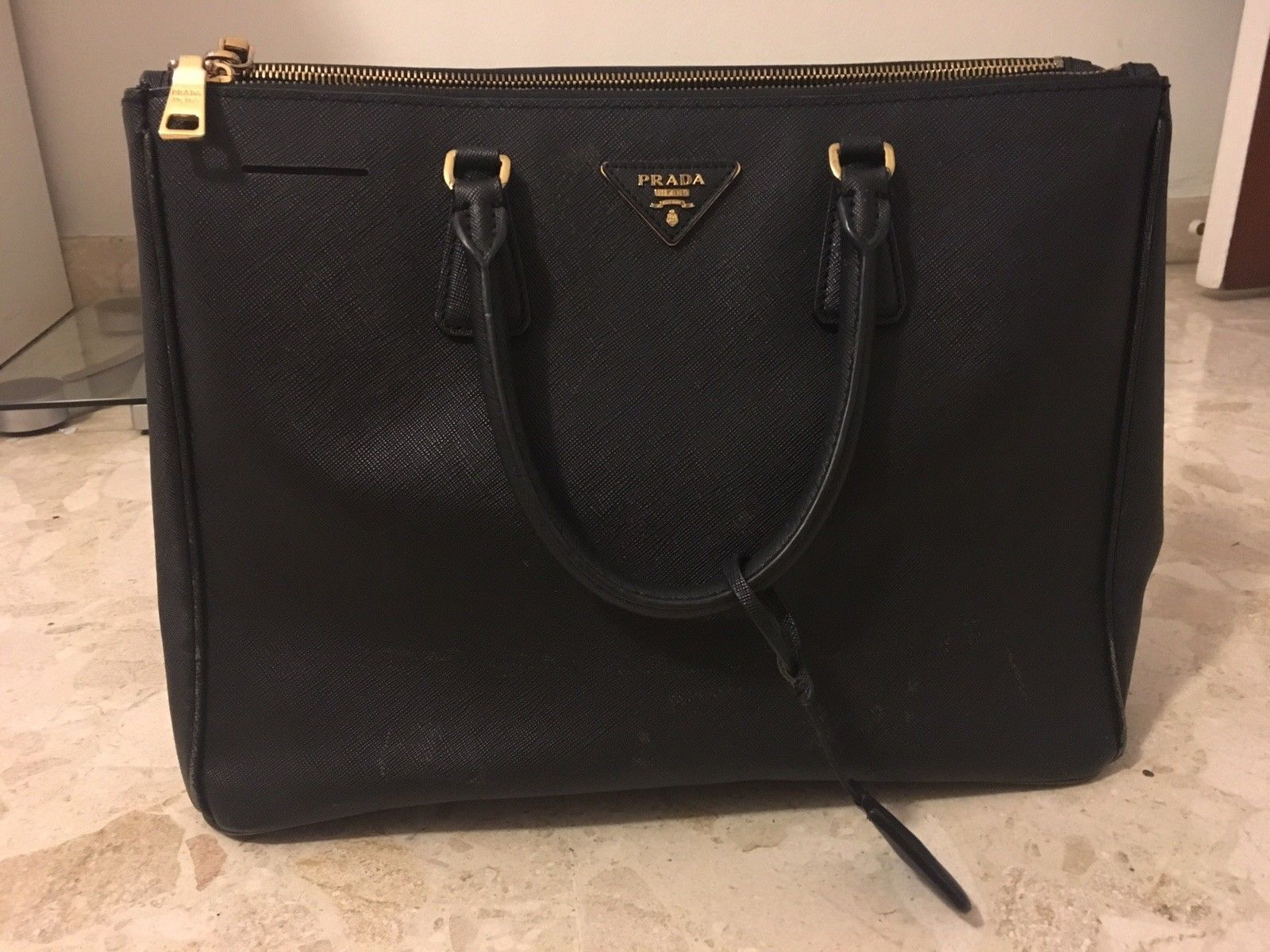 7832e03169 PRADA Saffiano Leather Double Zip Lux Medium Black Totes bag  395.0 ...
