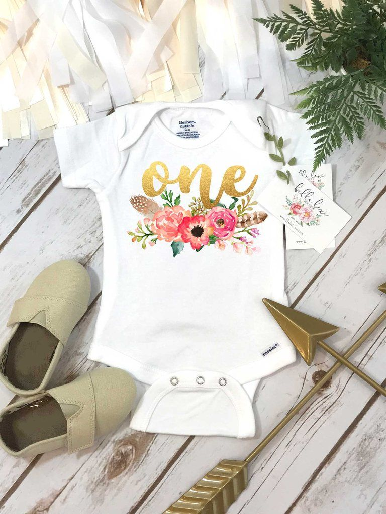 First Birthday Onesie®, Floral Wreath One, Baby Birthday