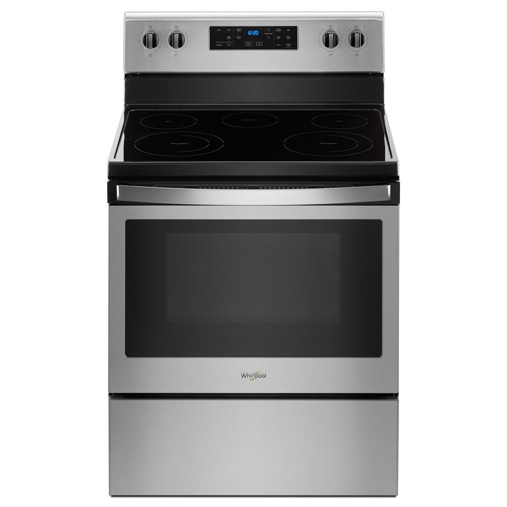 Whirlpool 5 3 Cu Ft Electric Range With Steam Clean And 5 Elements In Fingerprint Resistant Stainless Steel Wfe505w0hz Freestanding Electric Ranges Electric