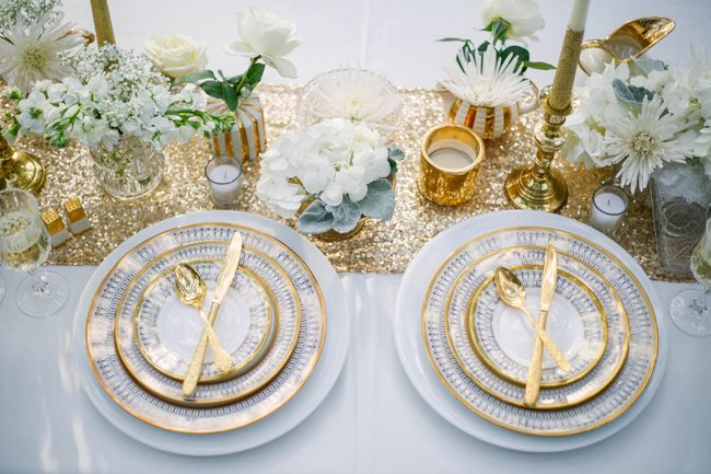 gold cutlery and gold rimmed china plates on table setting & Gold and White Winter Styled Shoot at Manatee River Garden Club ...