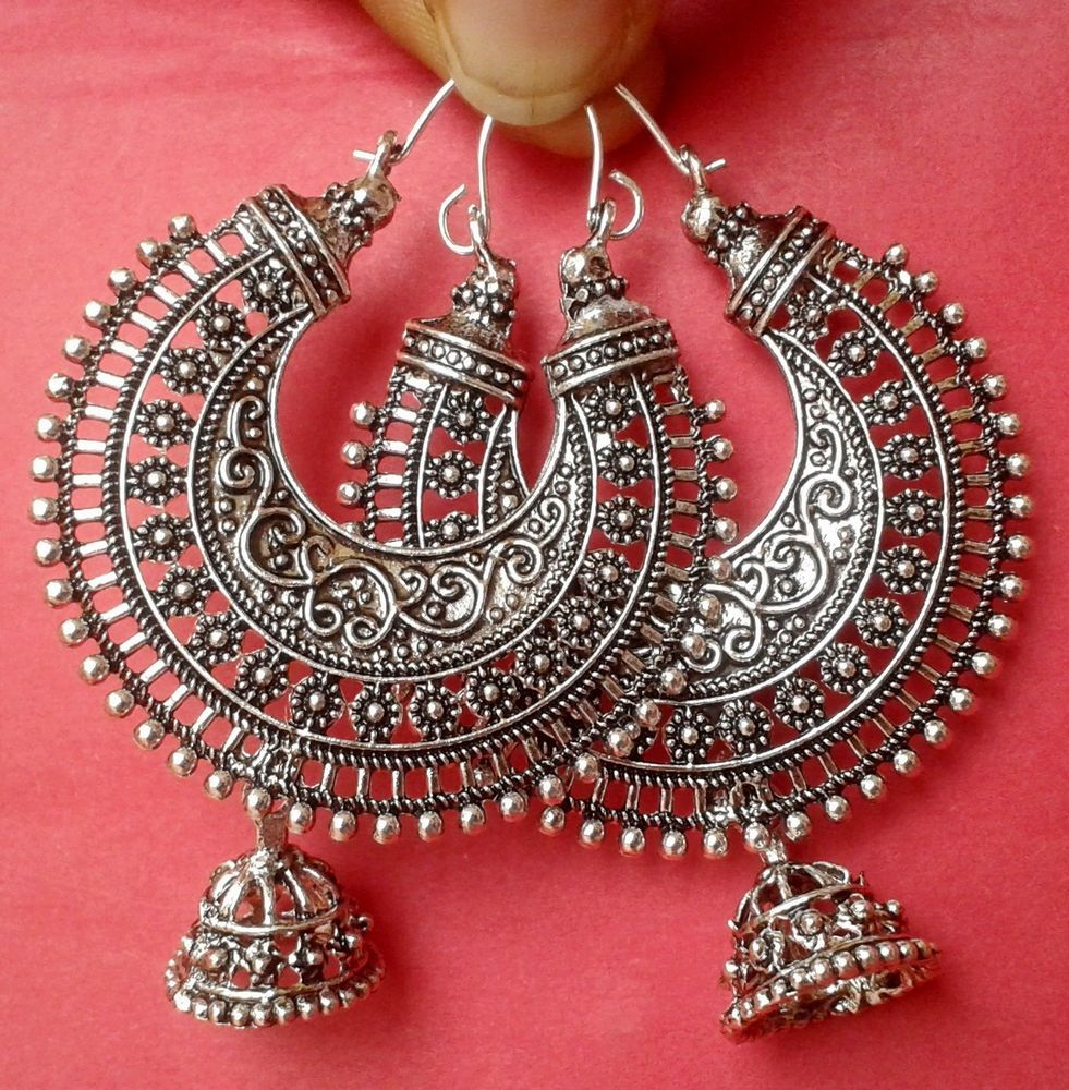 Vintage Ethnic South Jewelry Silver Tone Oxidized Indian