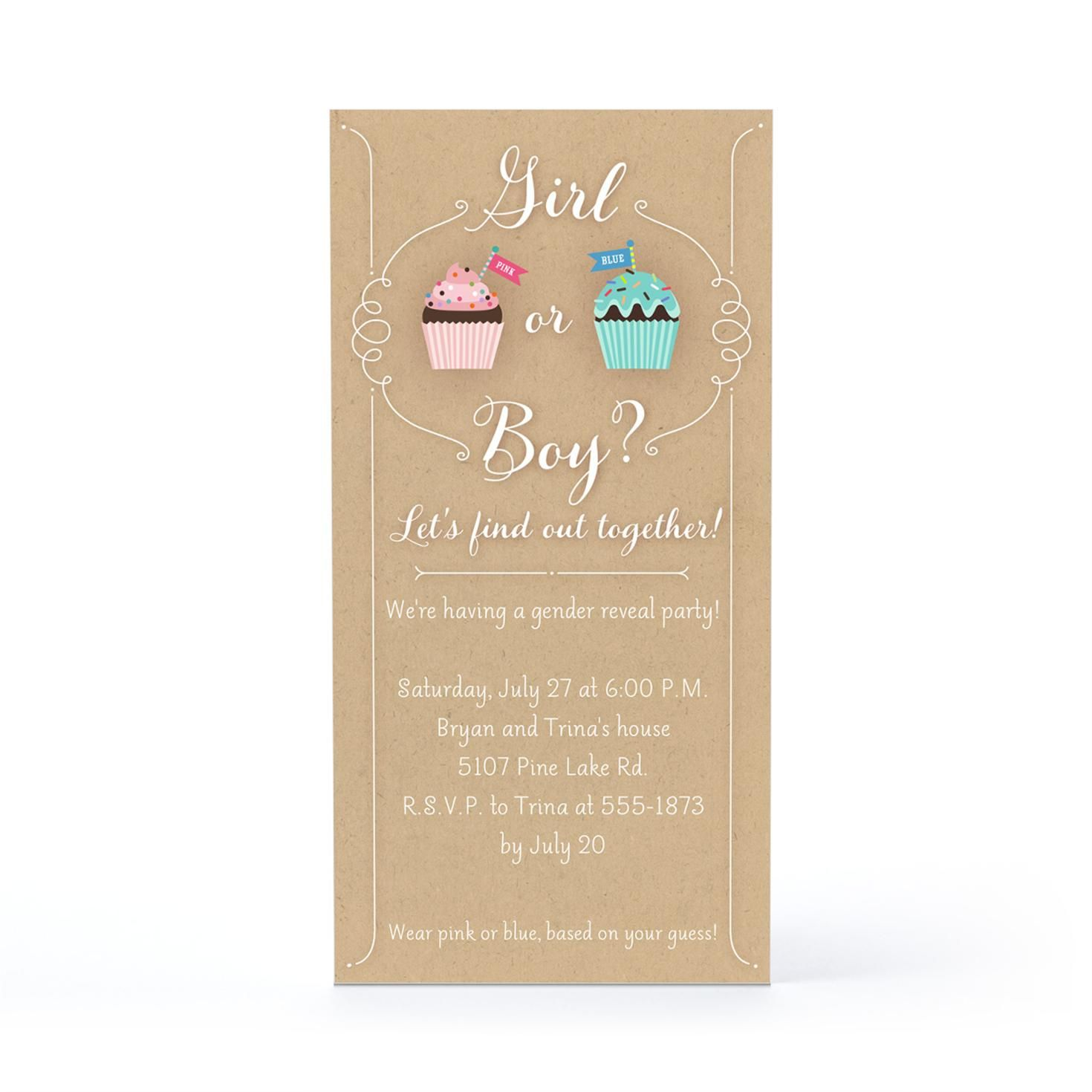 Pink Blue Cupcakes Baby Invitation Hallmark Gender Reveal - Hallmark party invitations templates