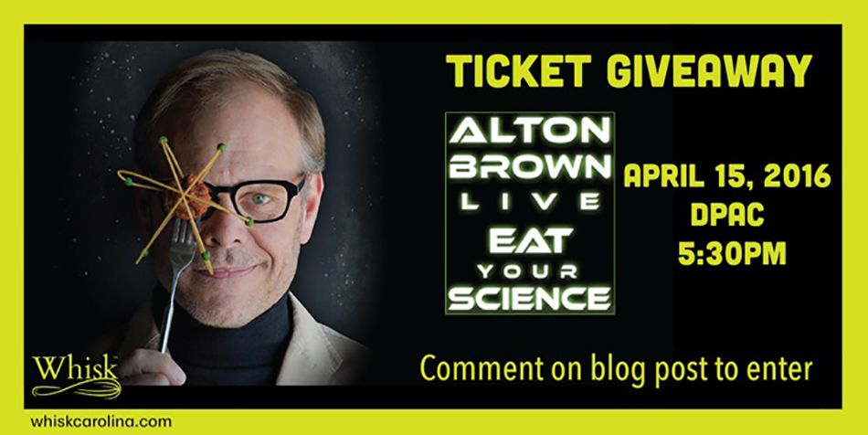 Ticket GiveAway | Alton Brown Live #eatyourscience.  Visit the #WhiskCarolina Blog to enter.