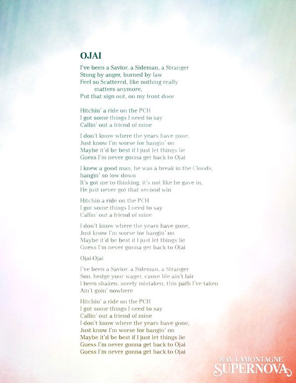 raylamontagne-Ojai-lyrics-blog.jpg | My Music | Pinterest | Ray ...