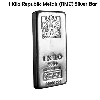 1 Kilo Republic Metals Rmc Silver Bar 999 Fine Silver Bars Buy Gold And Silver Gold And Silver Coins