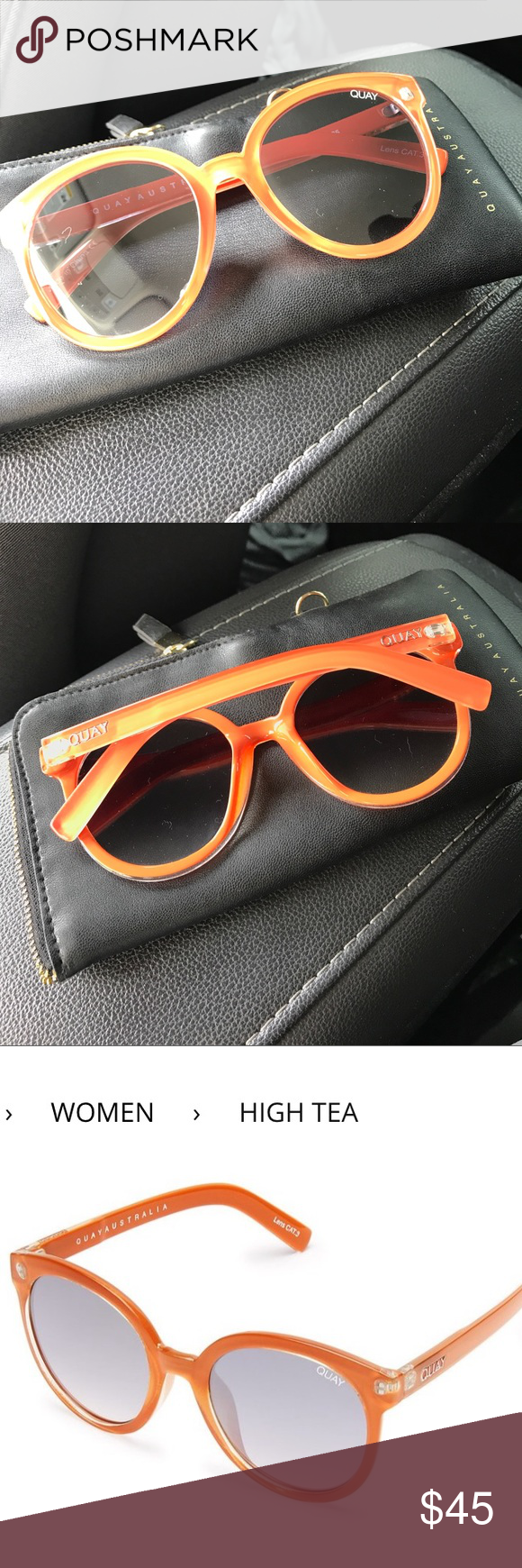 a71f481fae37 QUAY HIGH TEA SUNGLASSES Orange oversized sunglasses with mirrored frames  Quay Australia Accessories Sunglasses